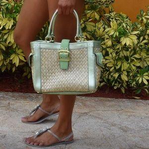 Coach Mint Green Straw Handbag Limited Edition